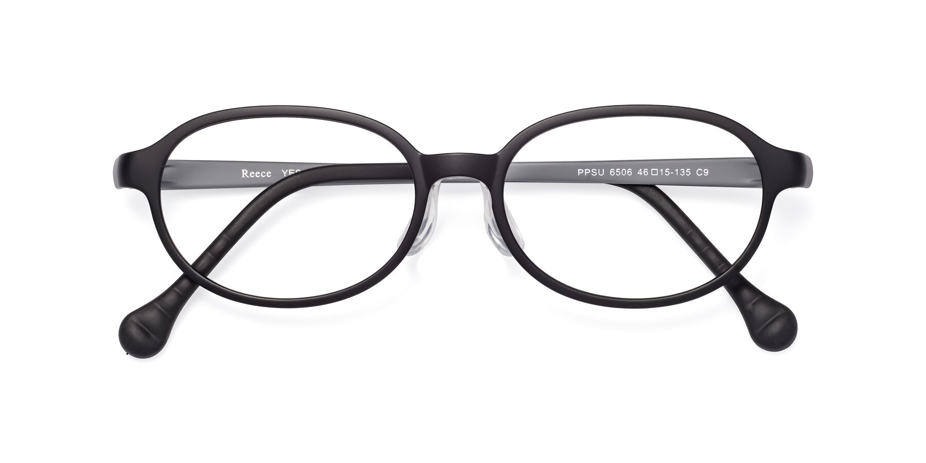 Folded Front of Reece in Black-Gray with Clear Eyeglass Lenses