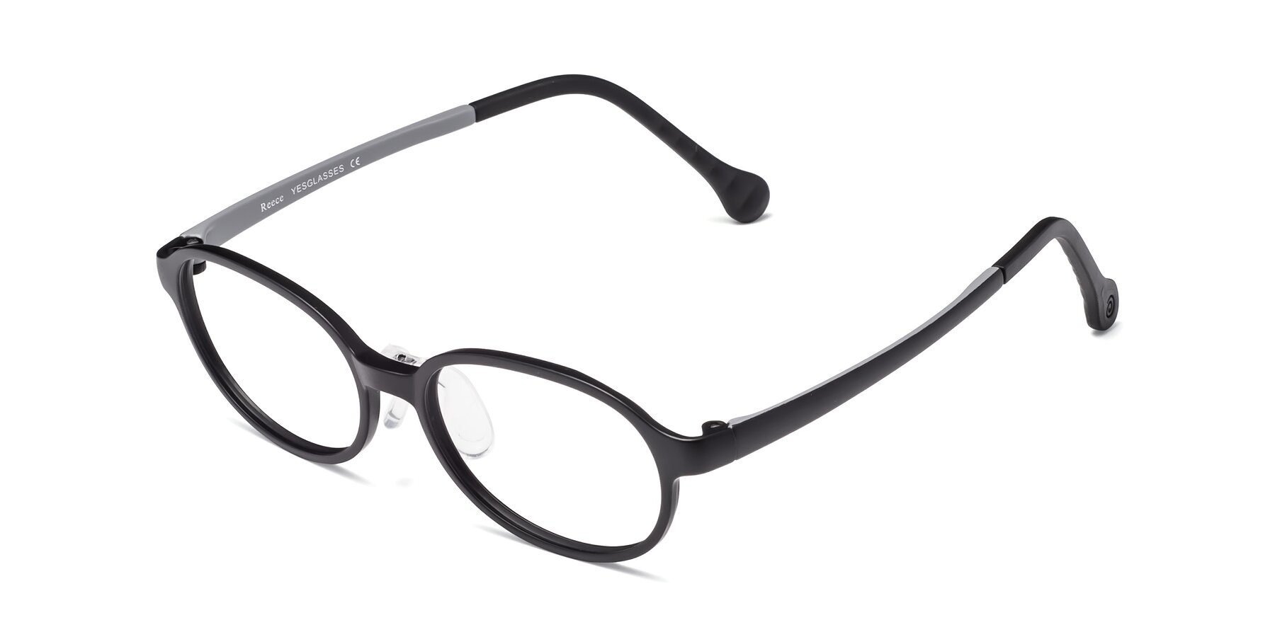 Angle of Reece in Black-Gray with Clear Eyeglass Lenses