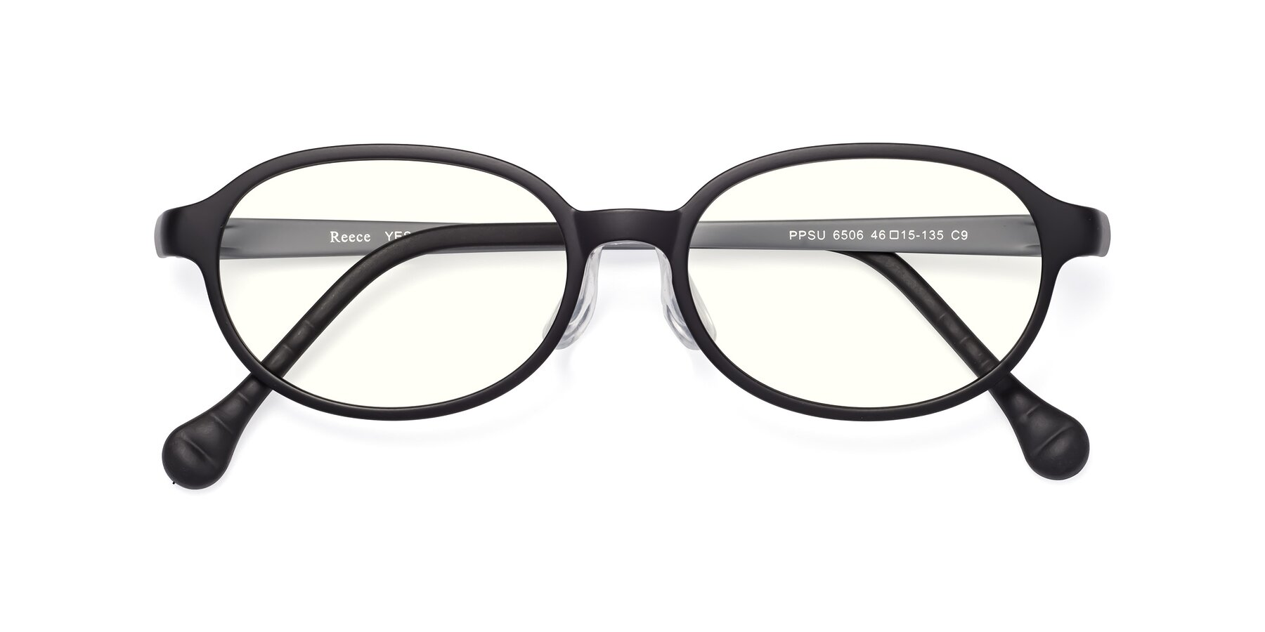 Folded Front of Reece in Black-Gray with Clear Blue Light Blocking Lenses