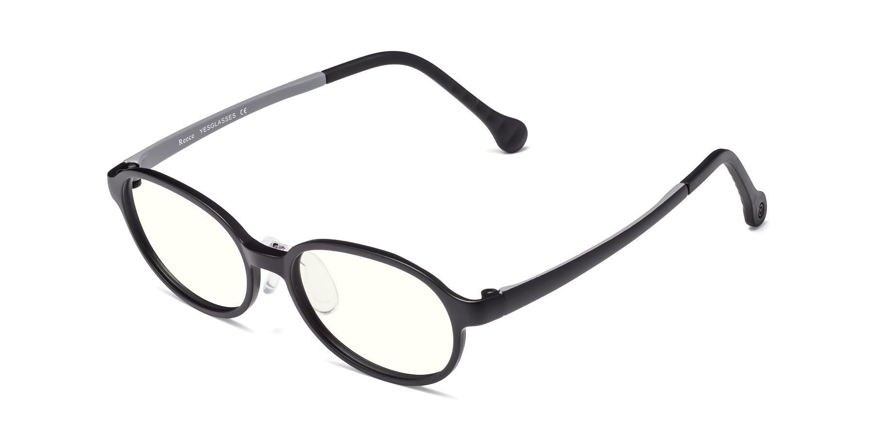 Angle of Reece in Black-Gray with Clear Blue Light Blocking Lenses