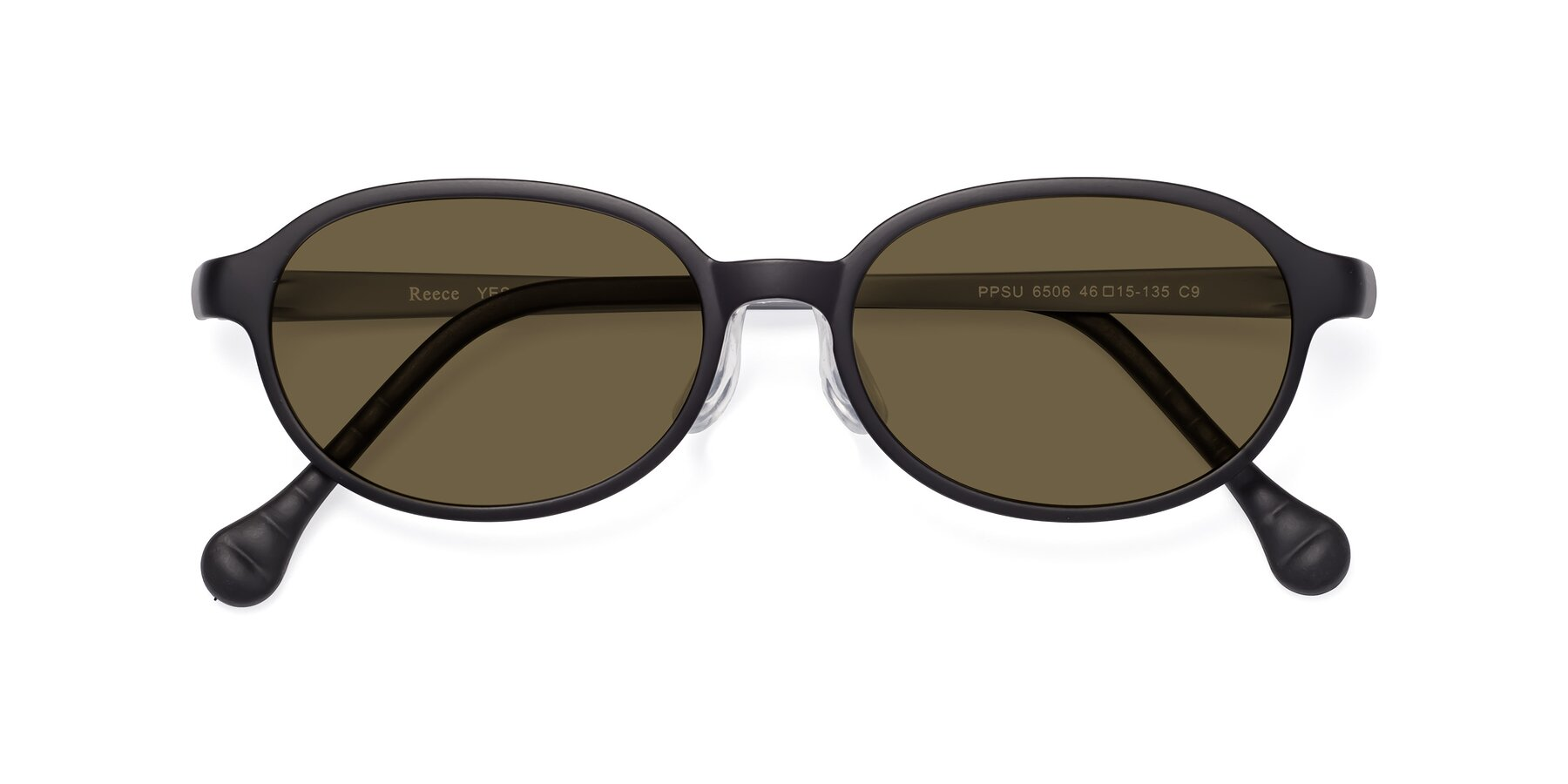 Folded Front of Reece in Black-Gray with Brown Polarized Lenses