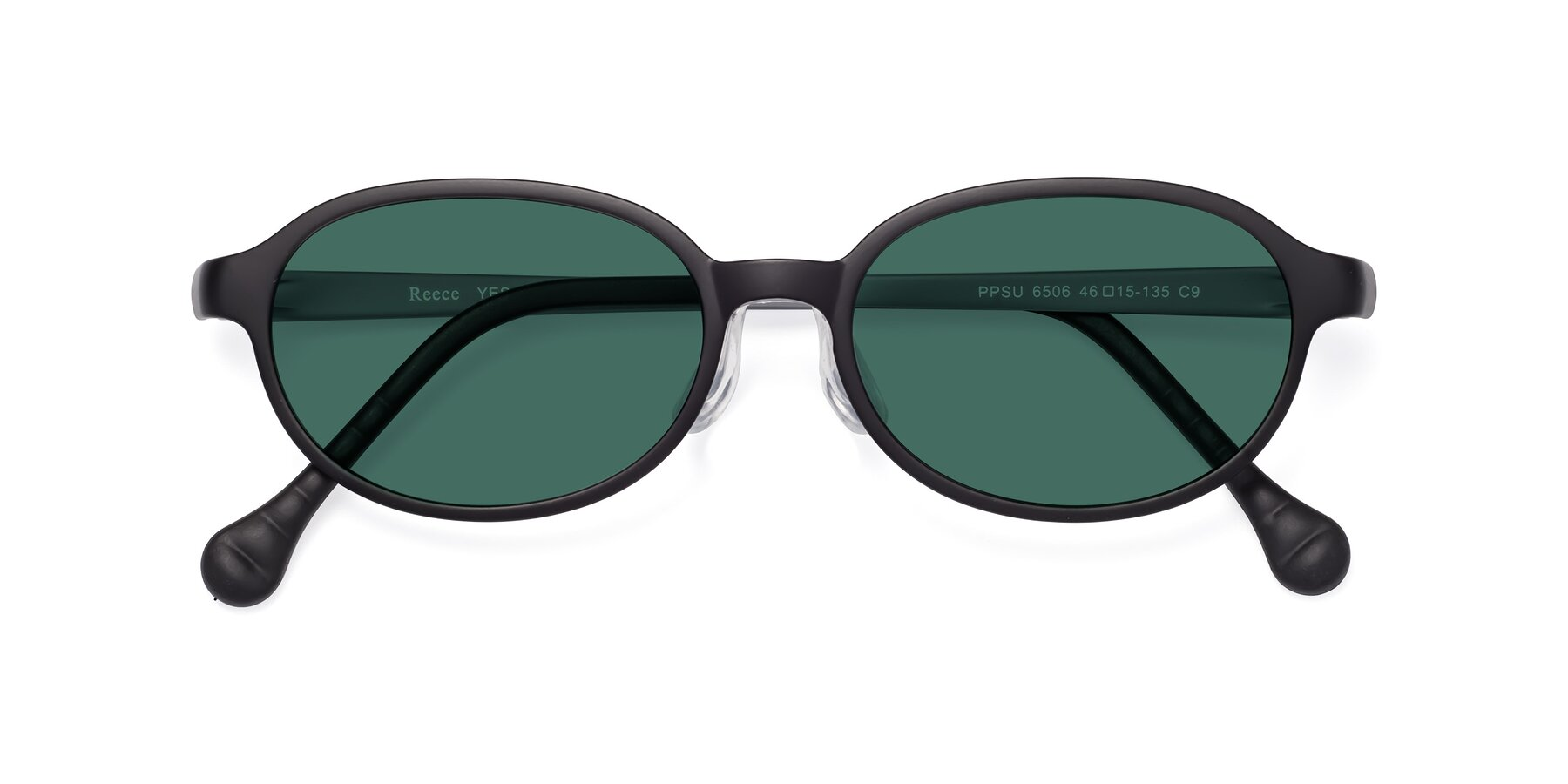 Folded Front of Reece in Black-Gray with Green Polarized Lenses