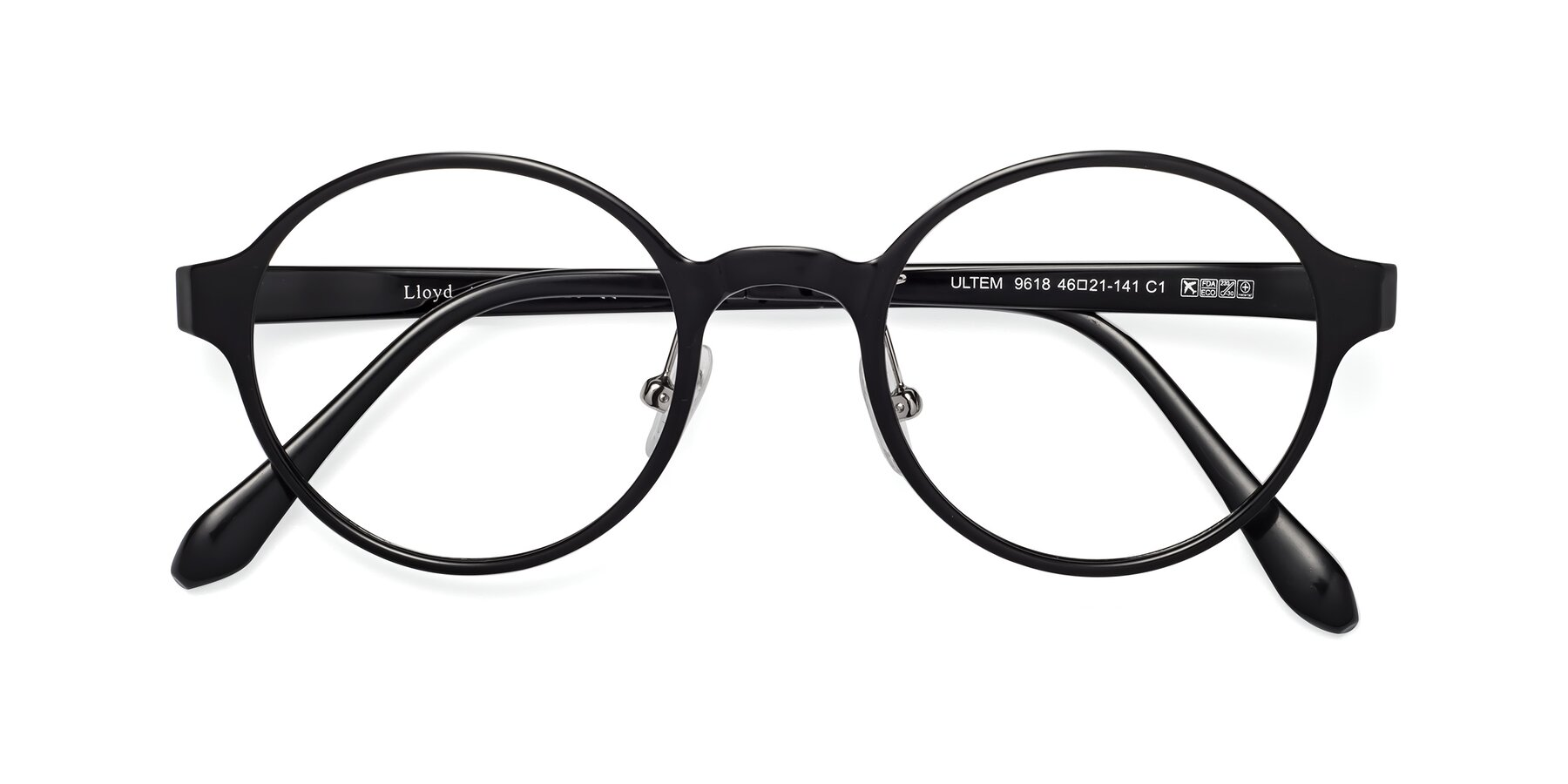 Folded Front of Lloyd in Black with Clear Blue Light Blocking Lenses
