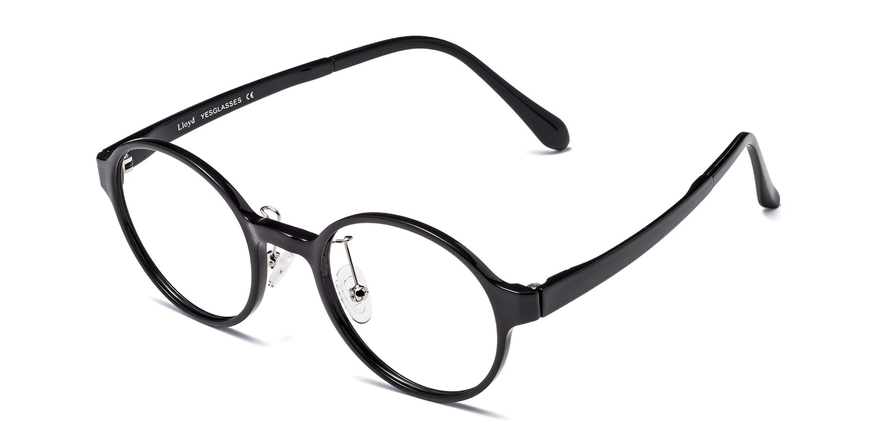 Angle of Lloyd in Black with Clear Blue Light Blocking Lenses