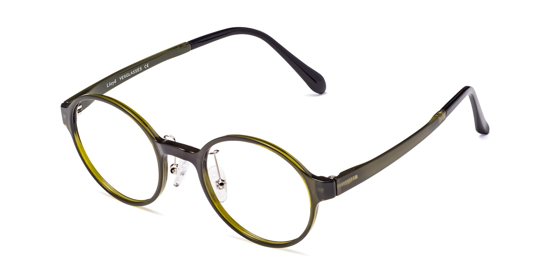 Angle of Lloyd in Deep Green with Clear Eyeglass Lenses