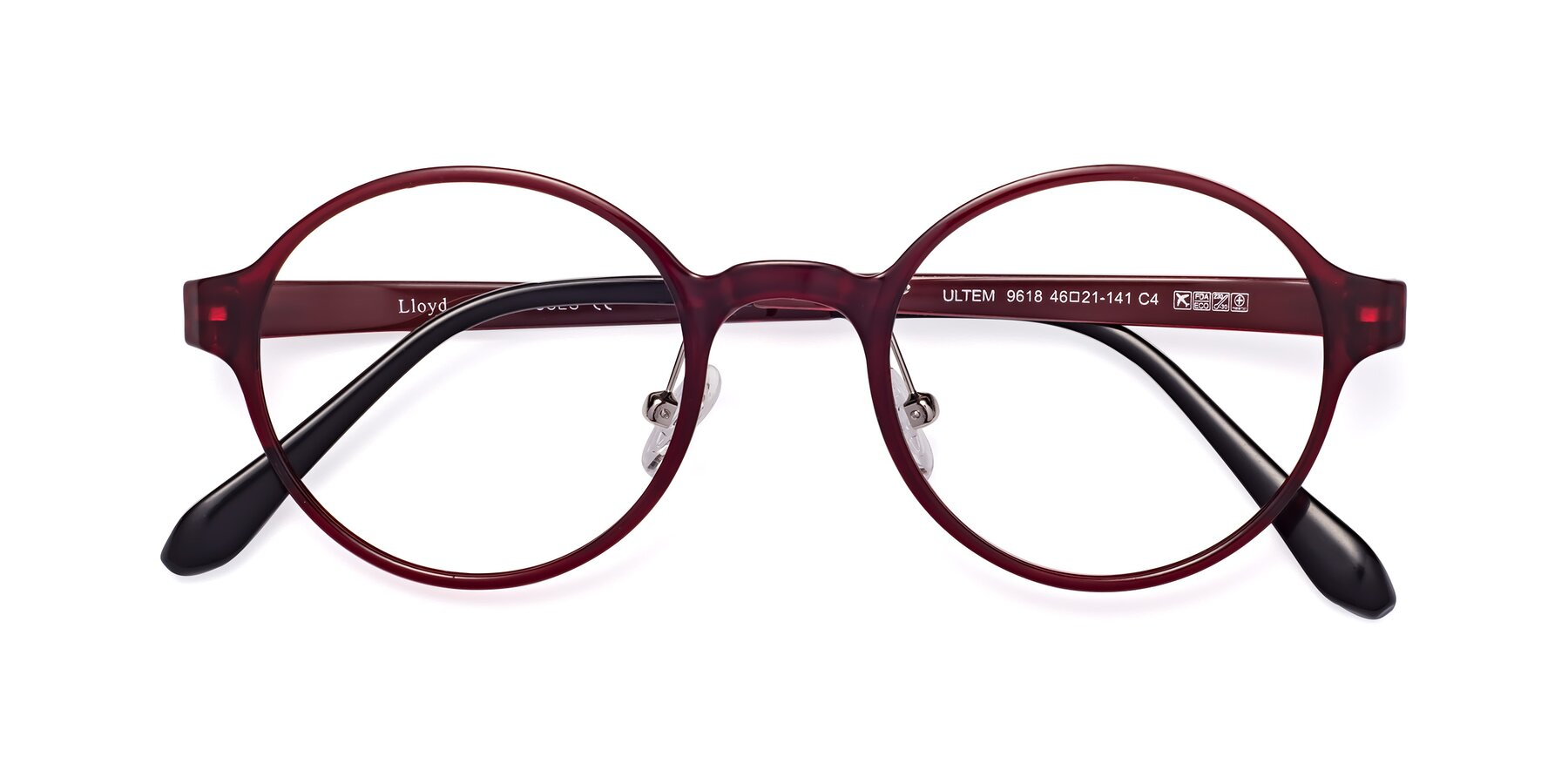 Folded Front of Lloyd in Wine with Clear Eyeglass Lenses