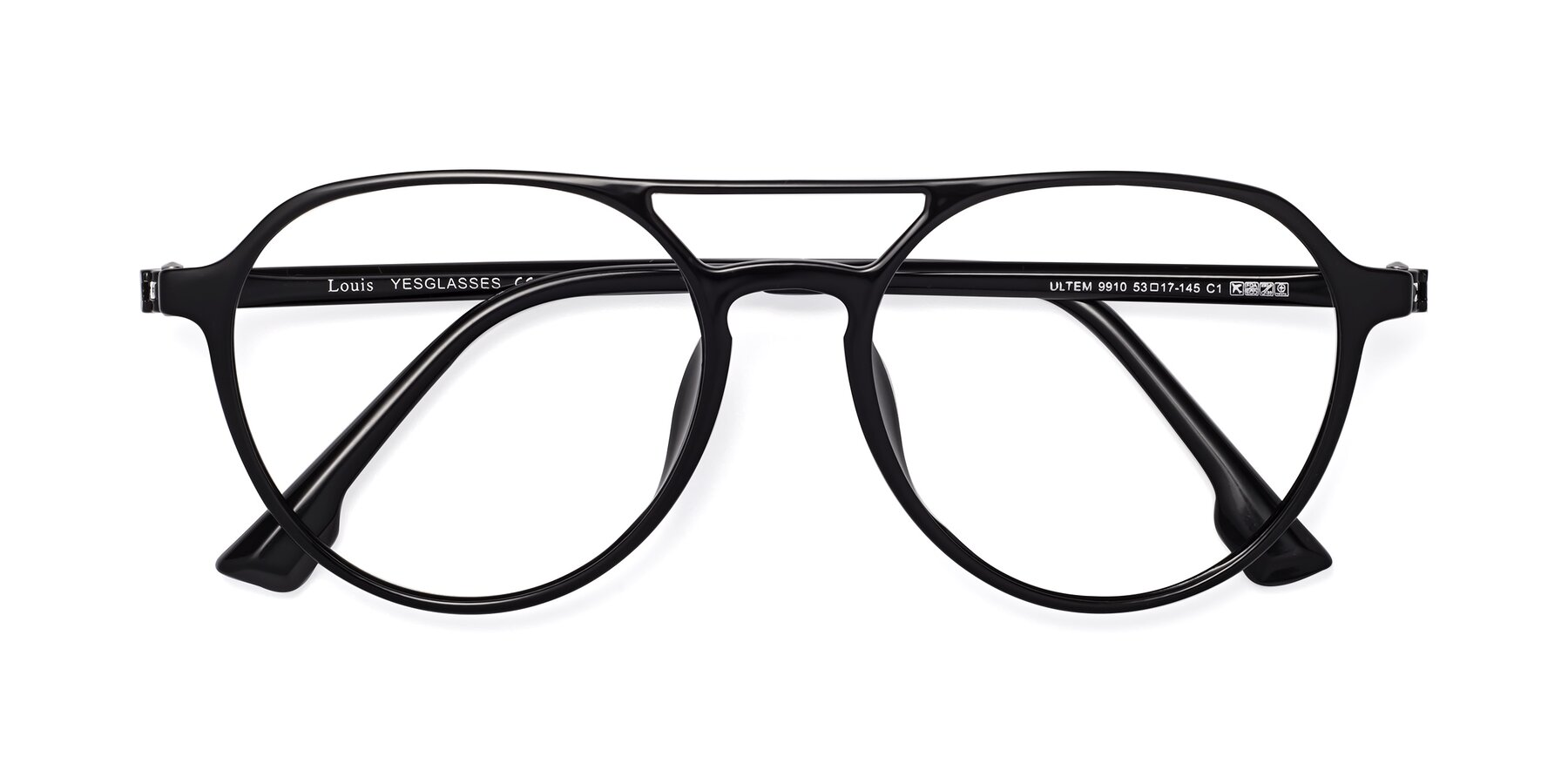 Folded Front of Louis in Black with Clear Eyeglass Lenses