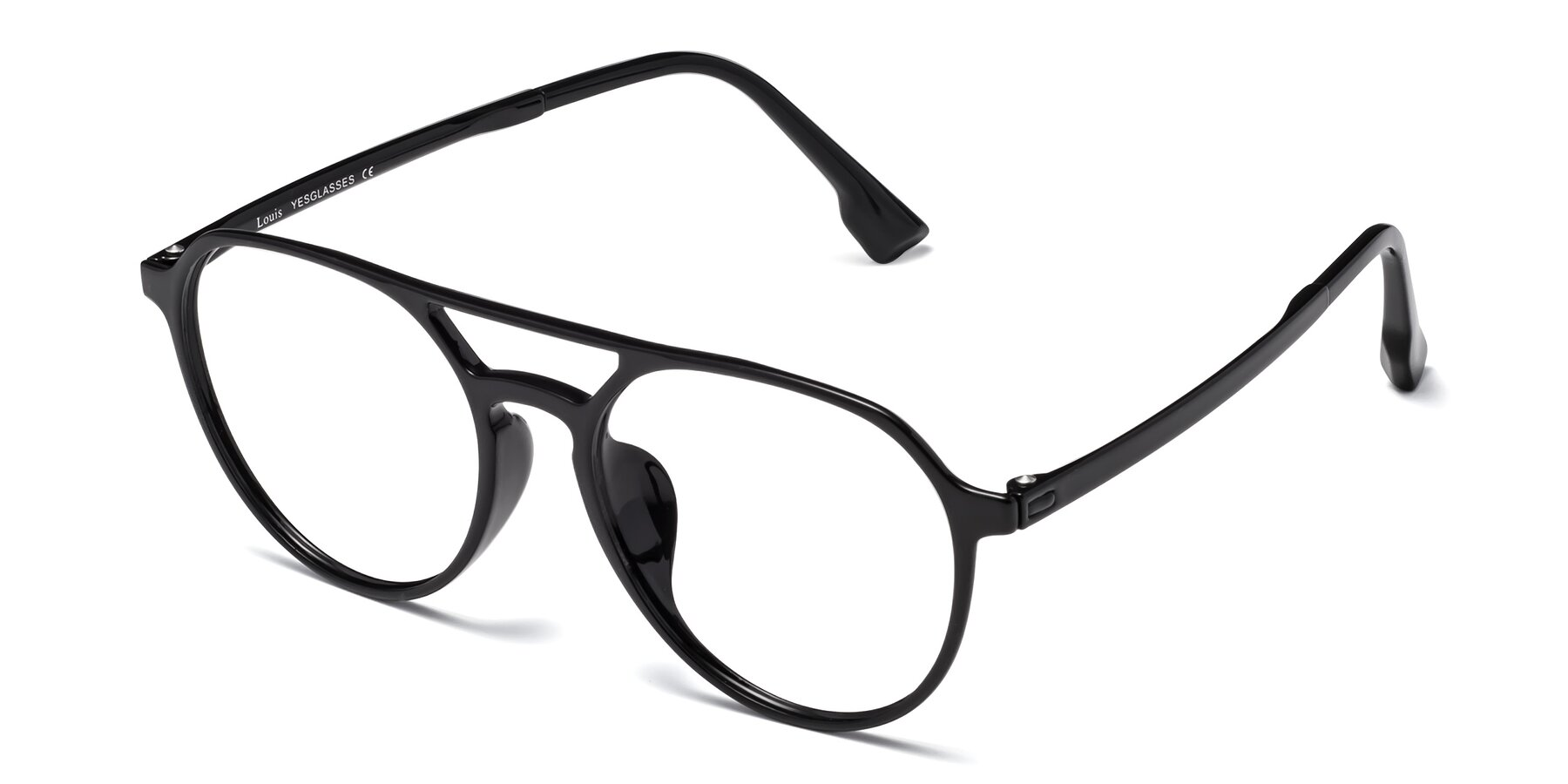 Angle of Louis in Black with Clear Eyeglass Lenses