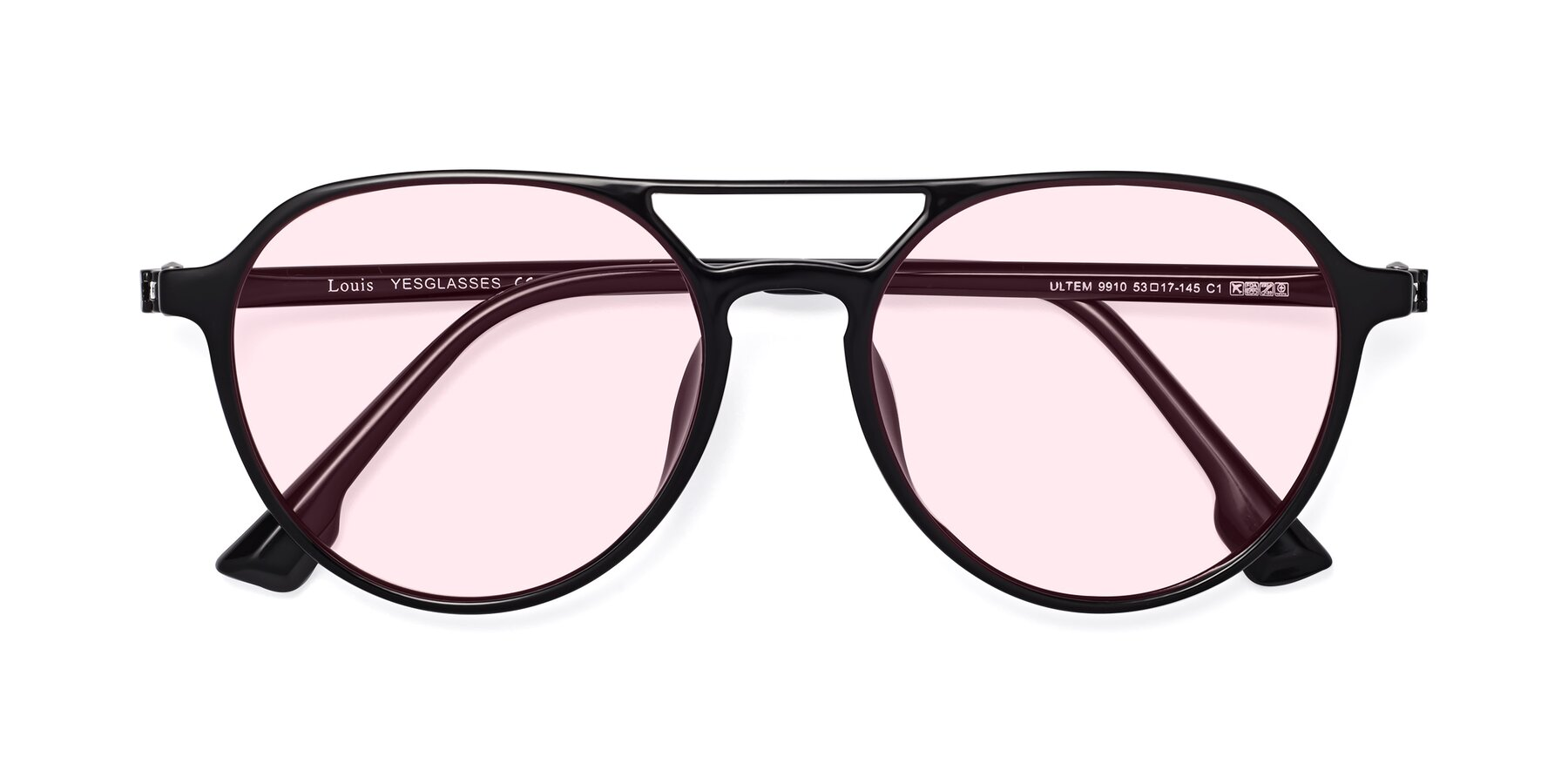 Folded Front of Louis in Black with Light Pink Tinted Lenses