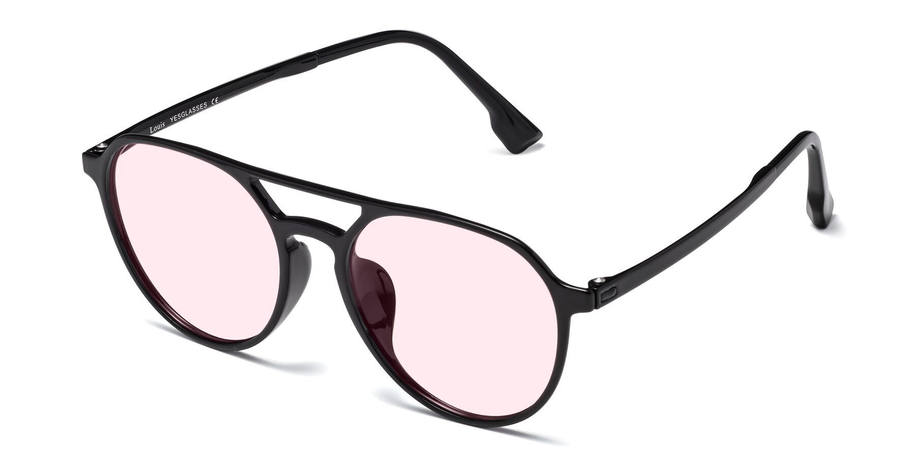 Angle of Louis in Black with Light Pink Tinted Lenses