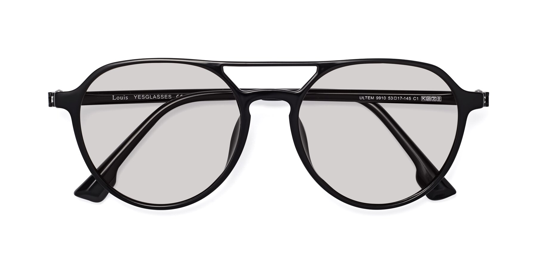 Folded Front of Louis in Black with Light Gray Tinted Lenses