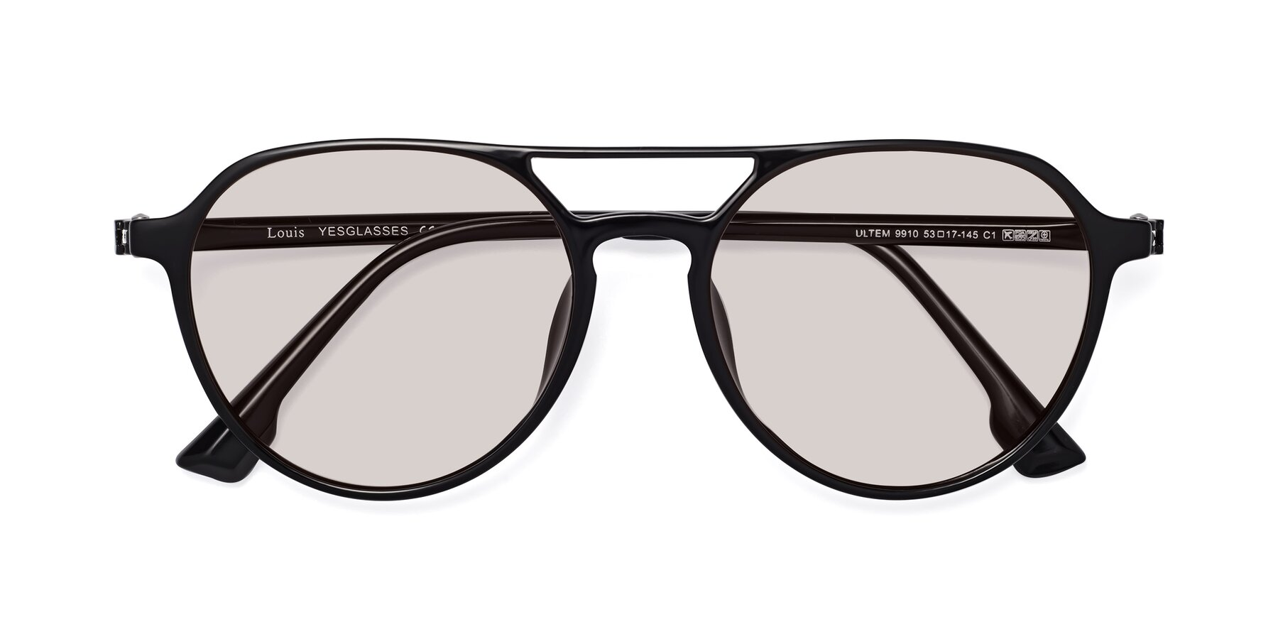 Folded Front of Louis in Black with Light Brown Tinted Lenses