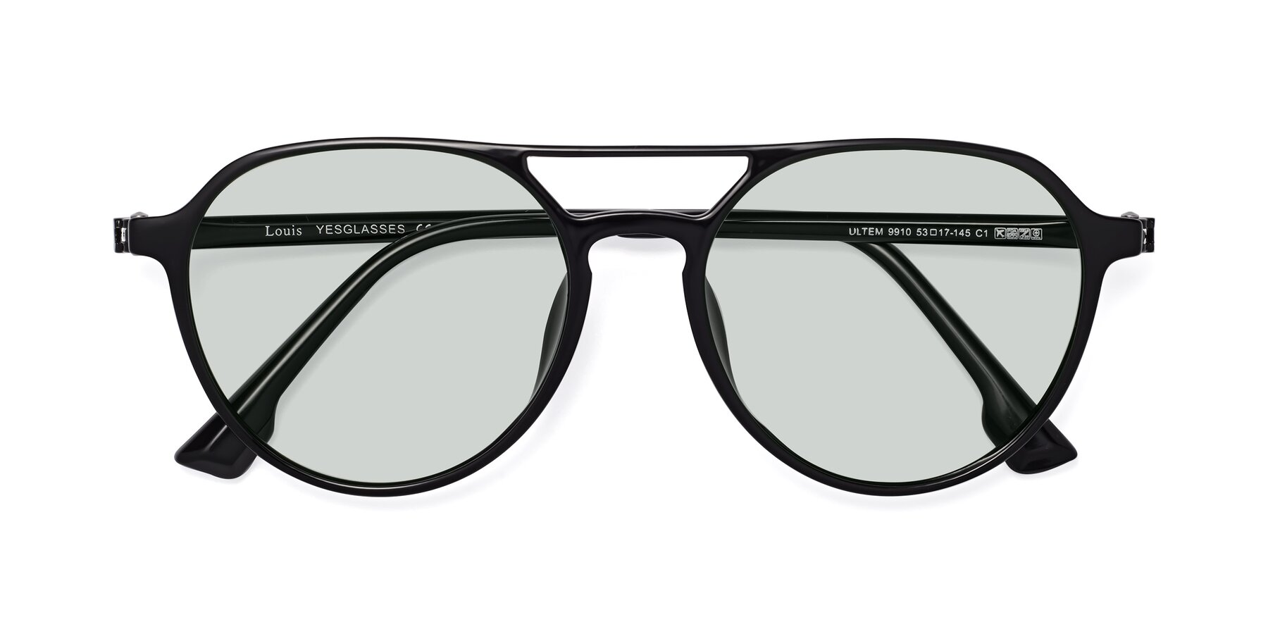 Folded Front of Louis in Black with Light Green Tinted Lenses