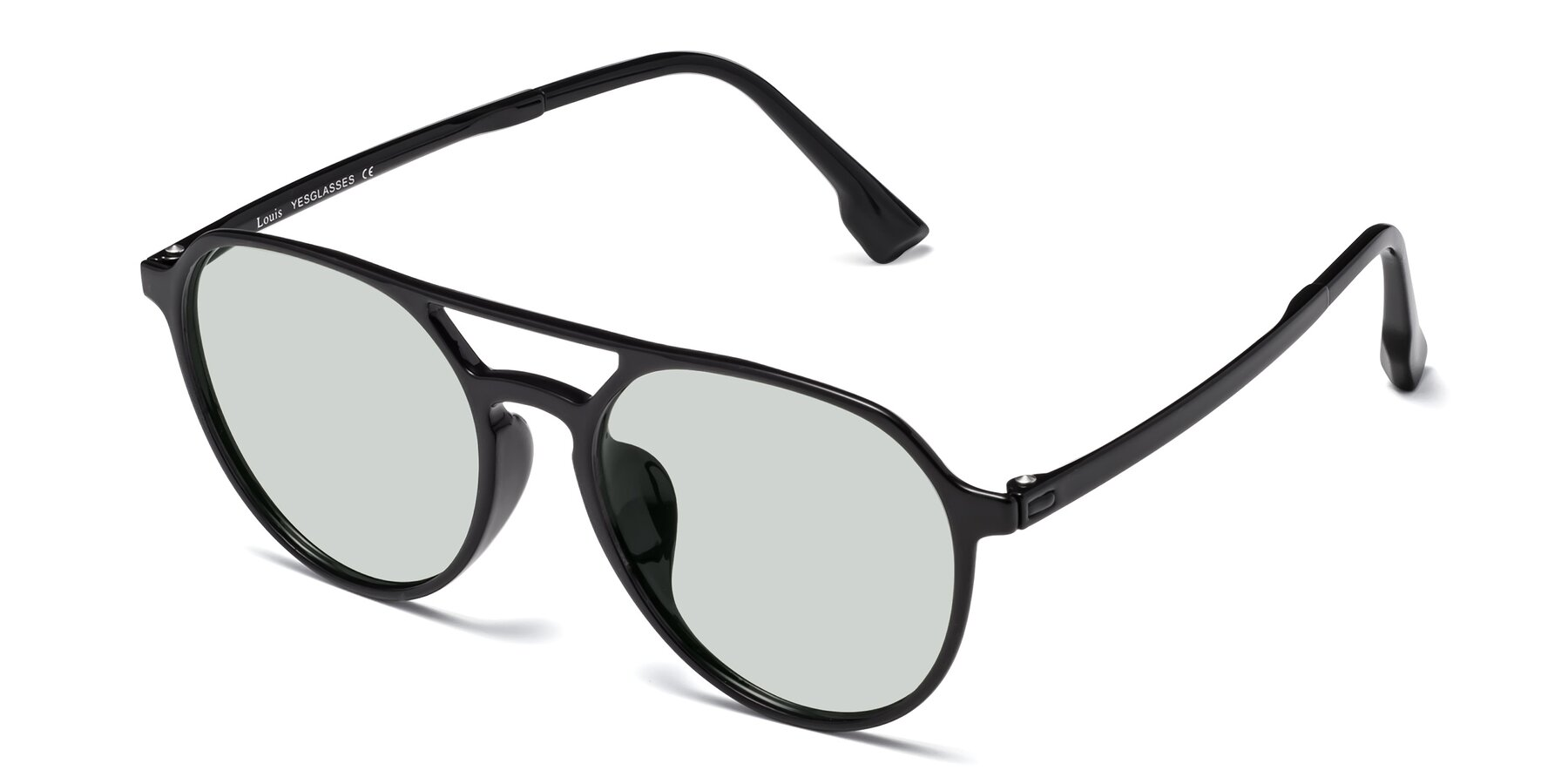 Angle of Louis in Black with Light Green Tinted Lenses