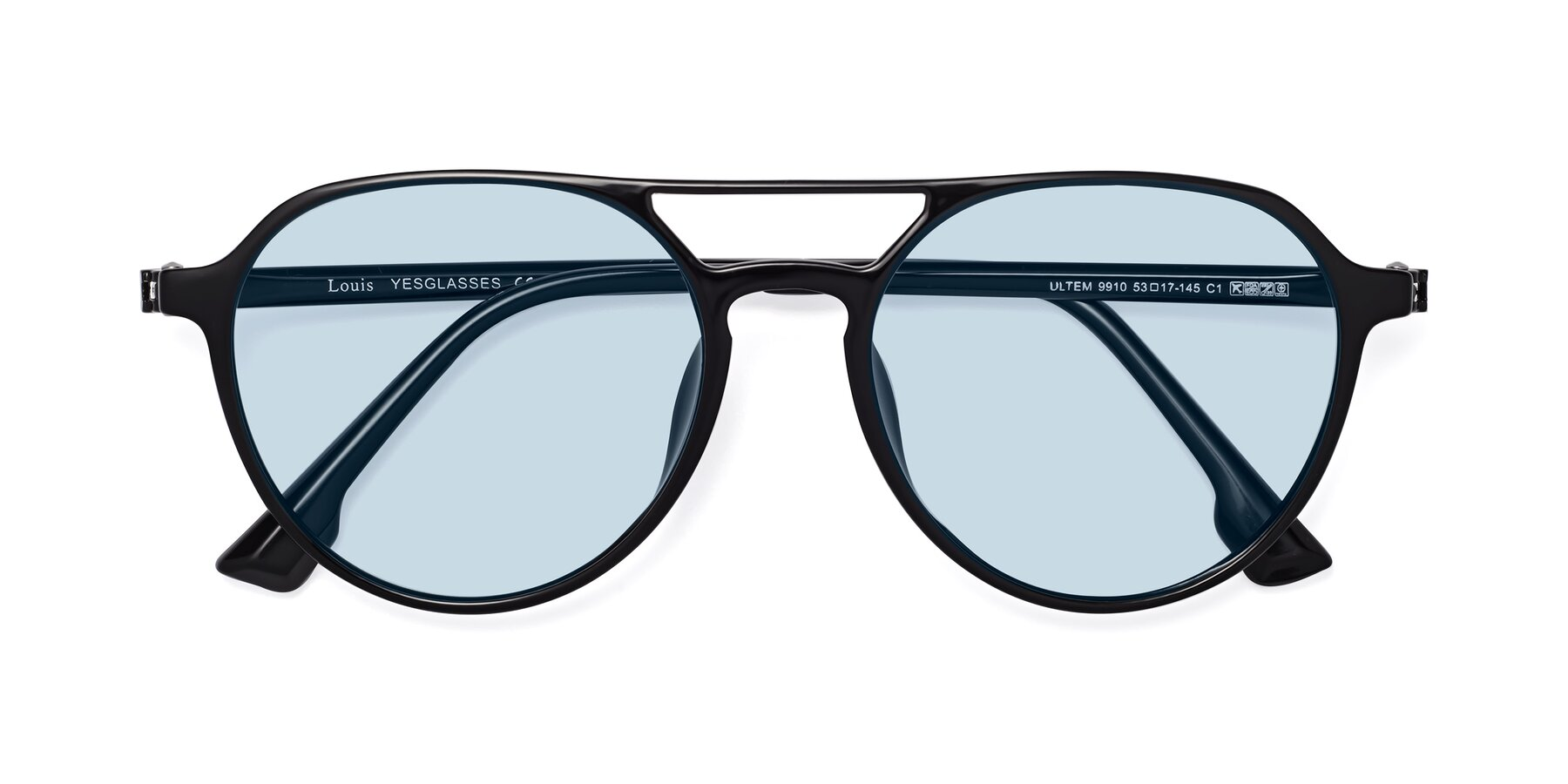 Folded Front of Louis in Black with Light Blue Tinted Lenses