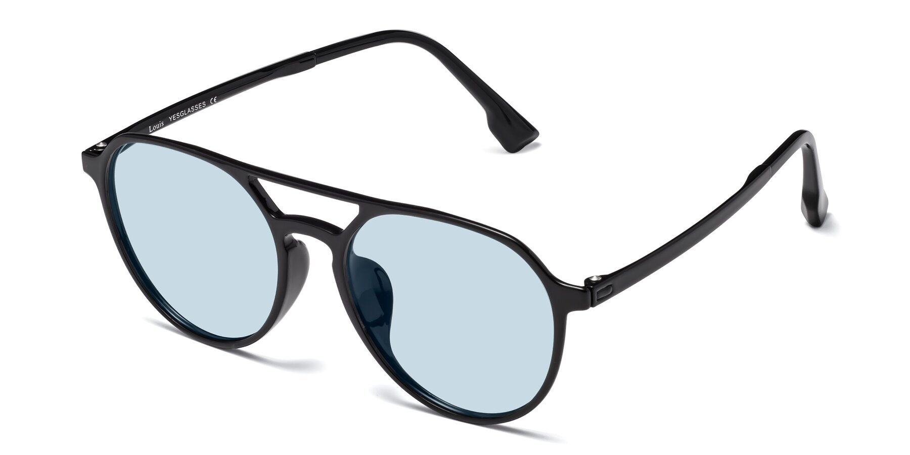 Angle of Louis in Black with Light Blue Tinted Lenses