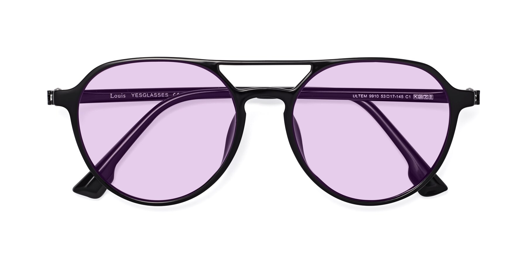 Folded Front of Louis in Black with Light Purple Tinted Lenses