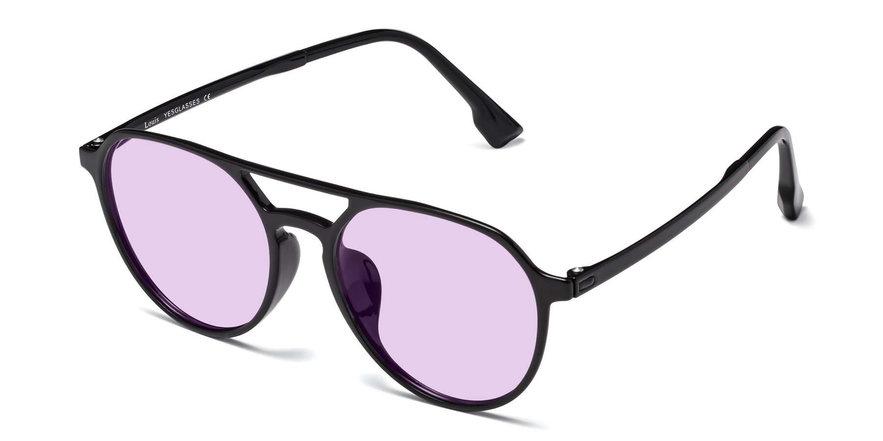 Angle of Louis in Black with Light Purple Tinted Lenses