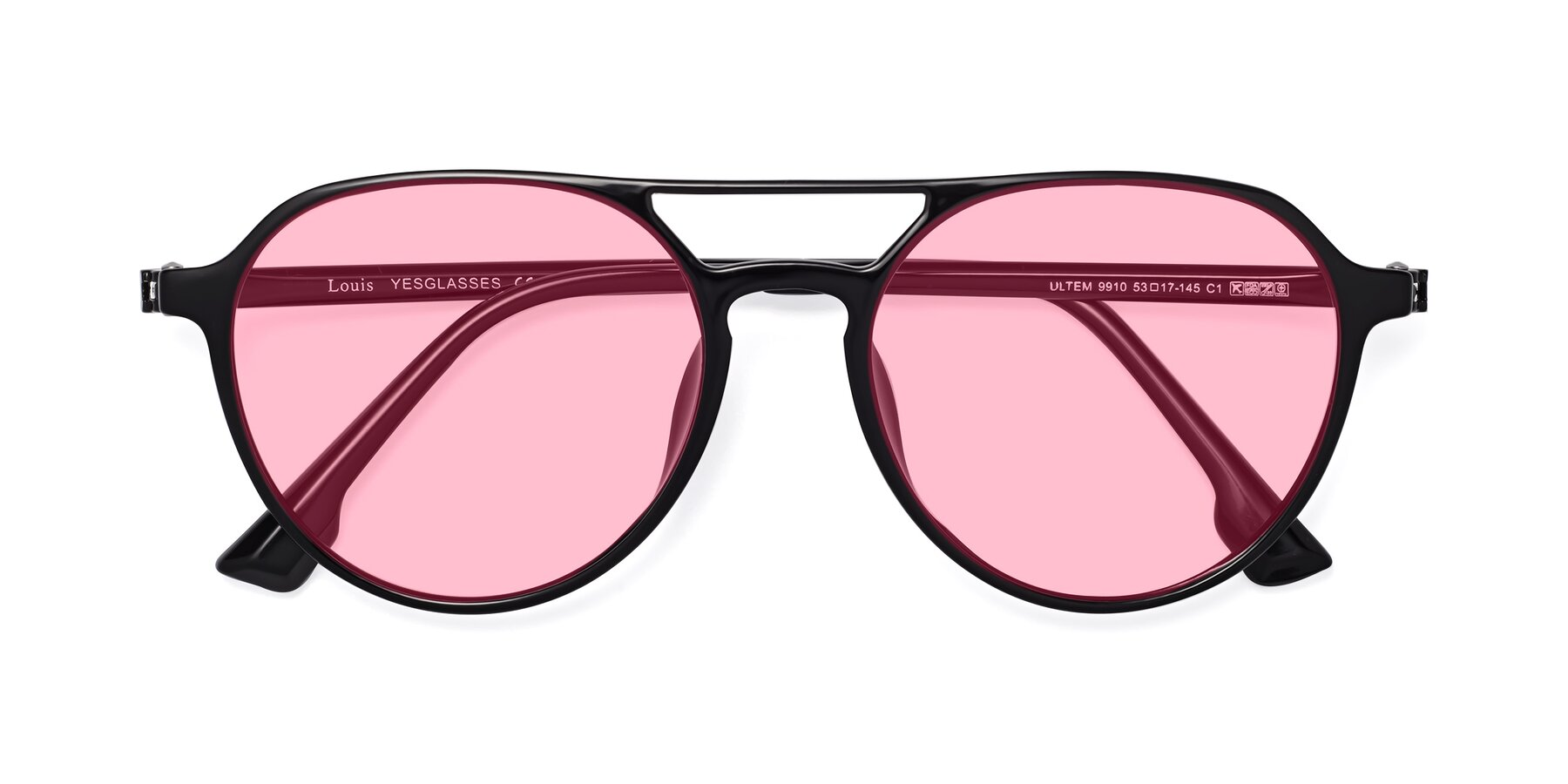Folded Front of Louis in Black with Medium Pink Tinted Lenses
