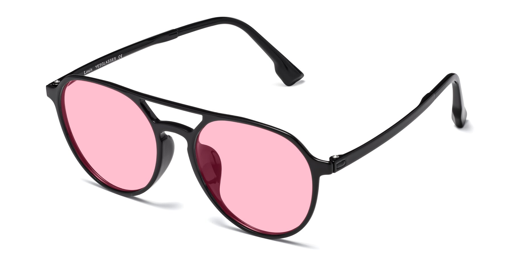 Angle of Louis in Black with Medium Pink Tinted Lenses