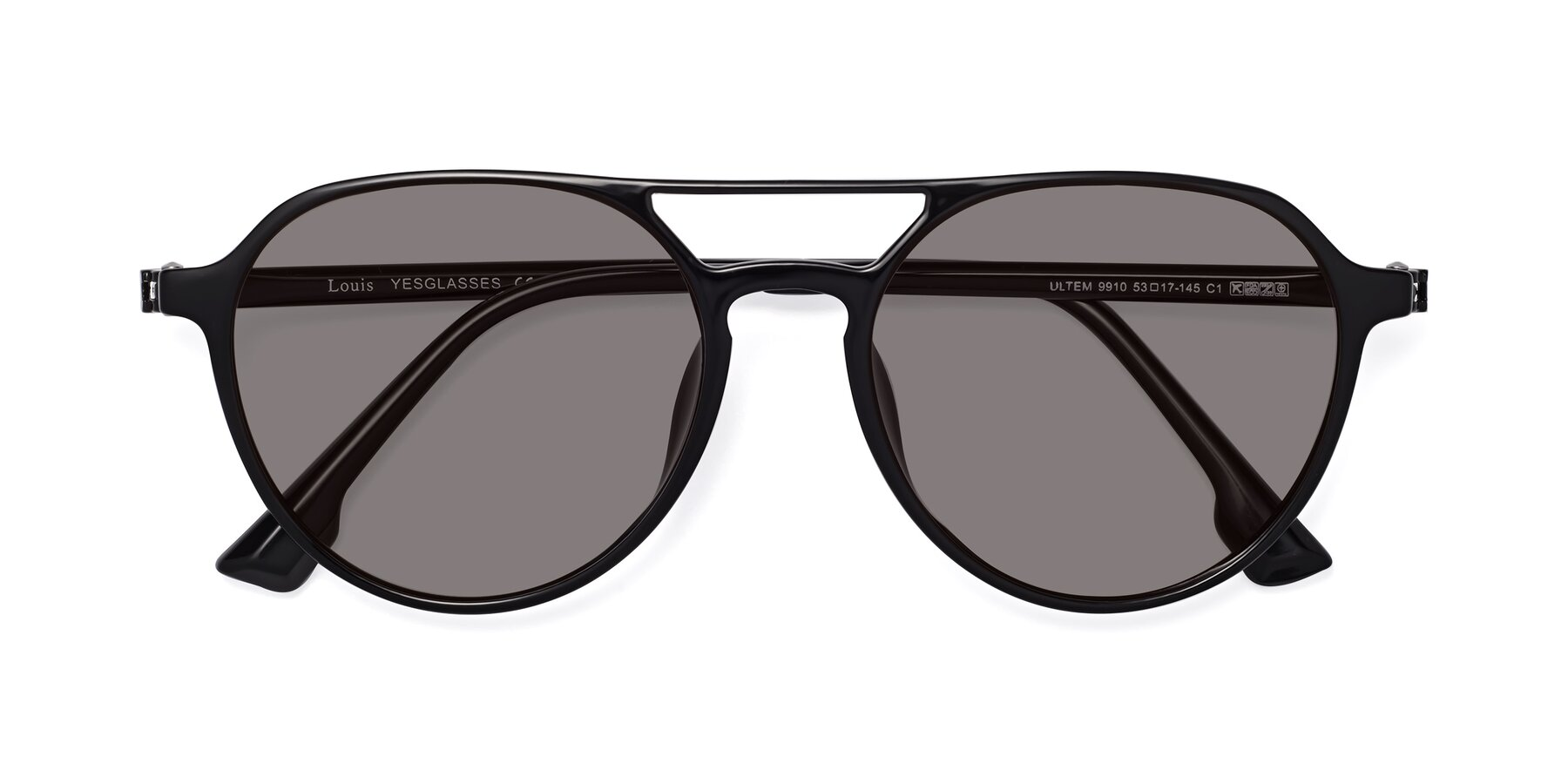 Folded Front of Louis in Black with Medium Gray Tinted Lenses