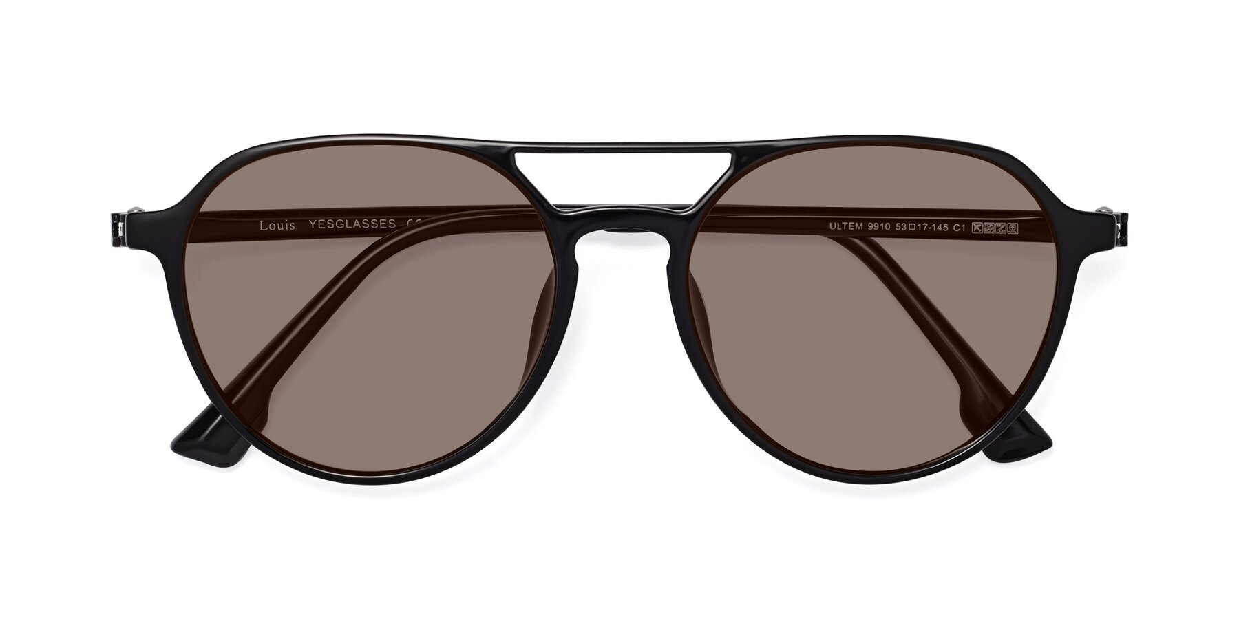Folded Front of Louis in Black with Medium Brown Tinted Lenses