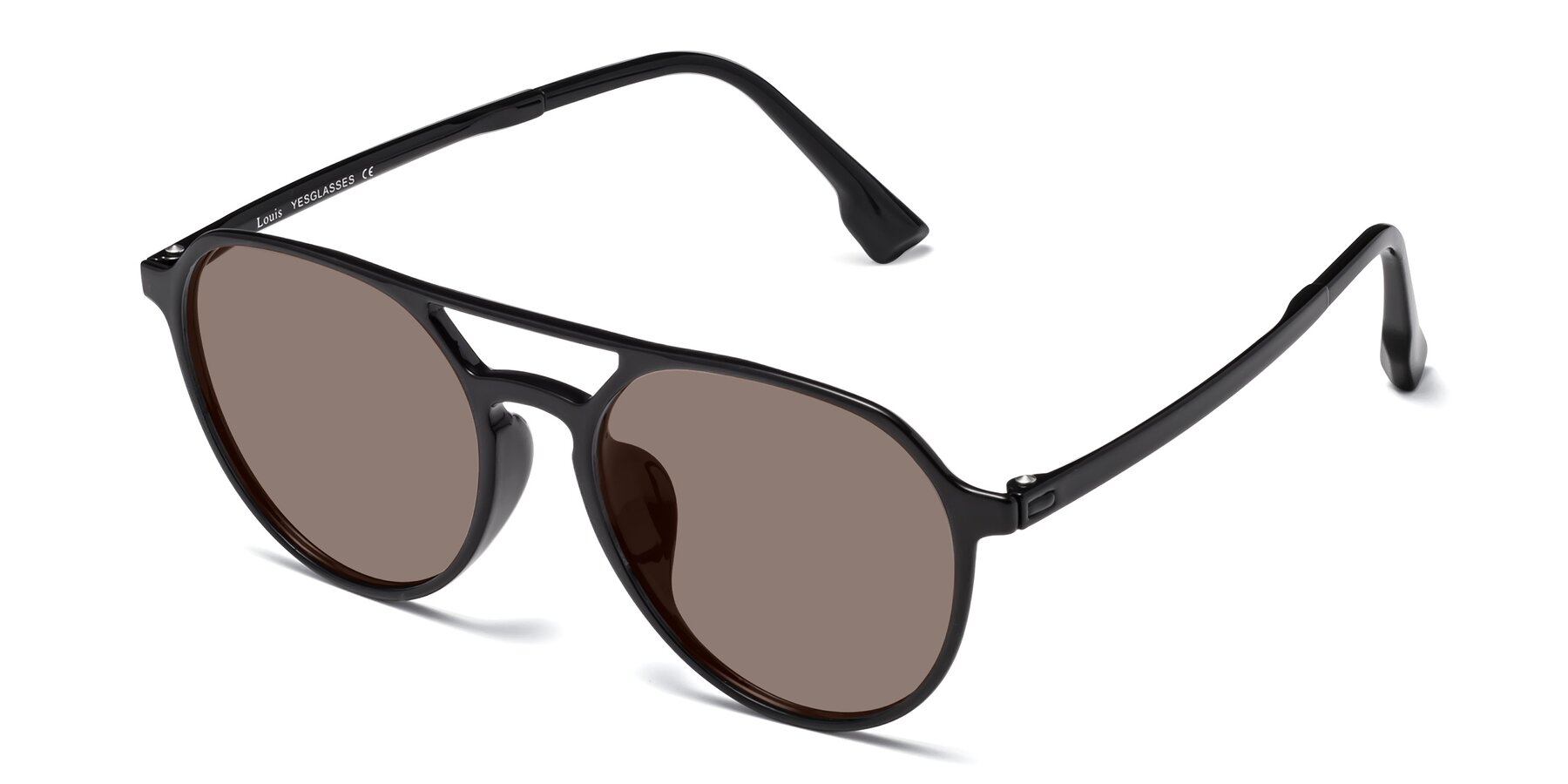 Angle of Louis in Black with Medium Brown Tinted Lenses
