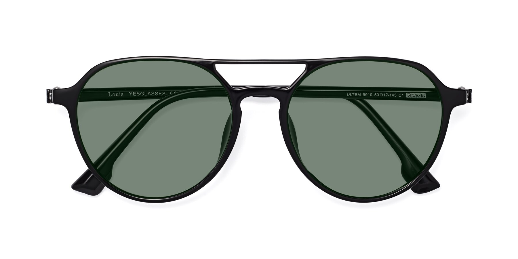 Folded Front of Louis in Black with Medium Green Tinted Lenses
