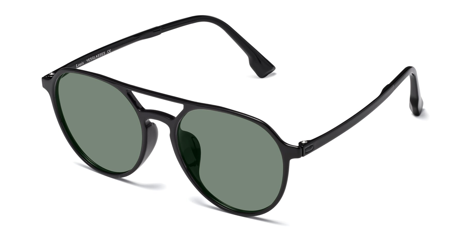Angle of Louis in Black with Medium Green Tinted Lenses