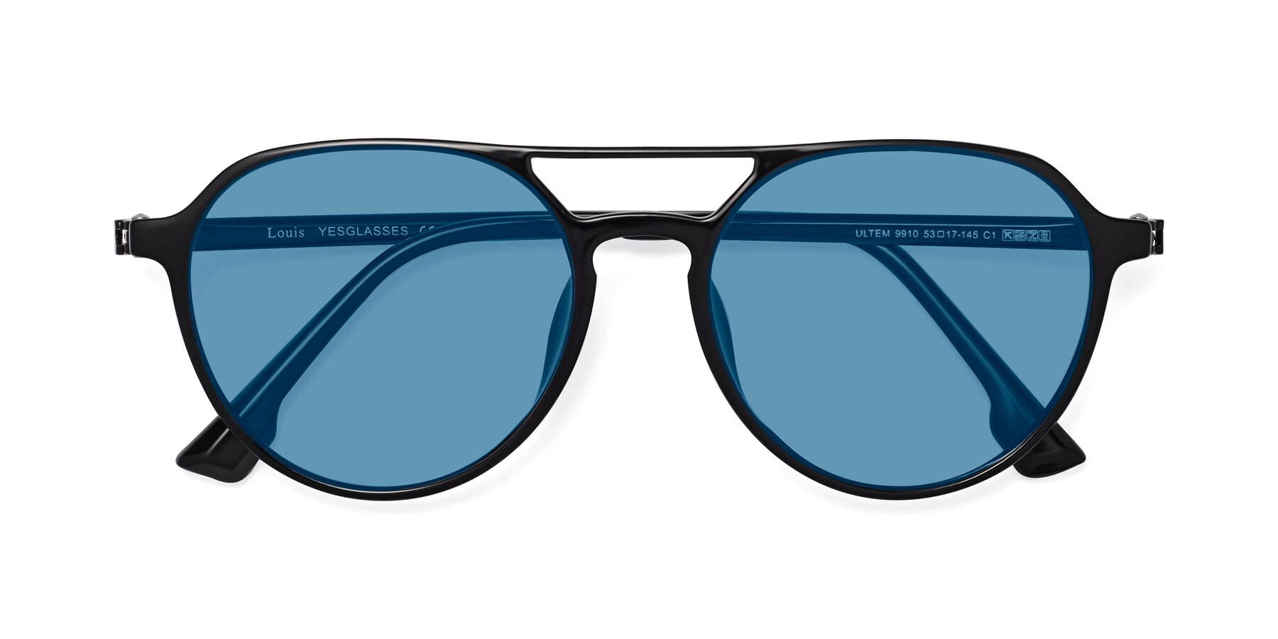 Folded Front of Louis in Black with Medium Blue Tinted Lenses