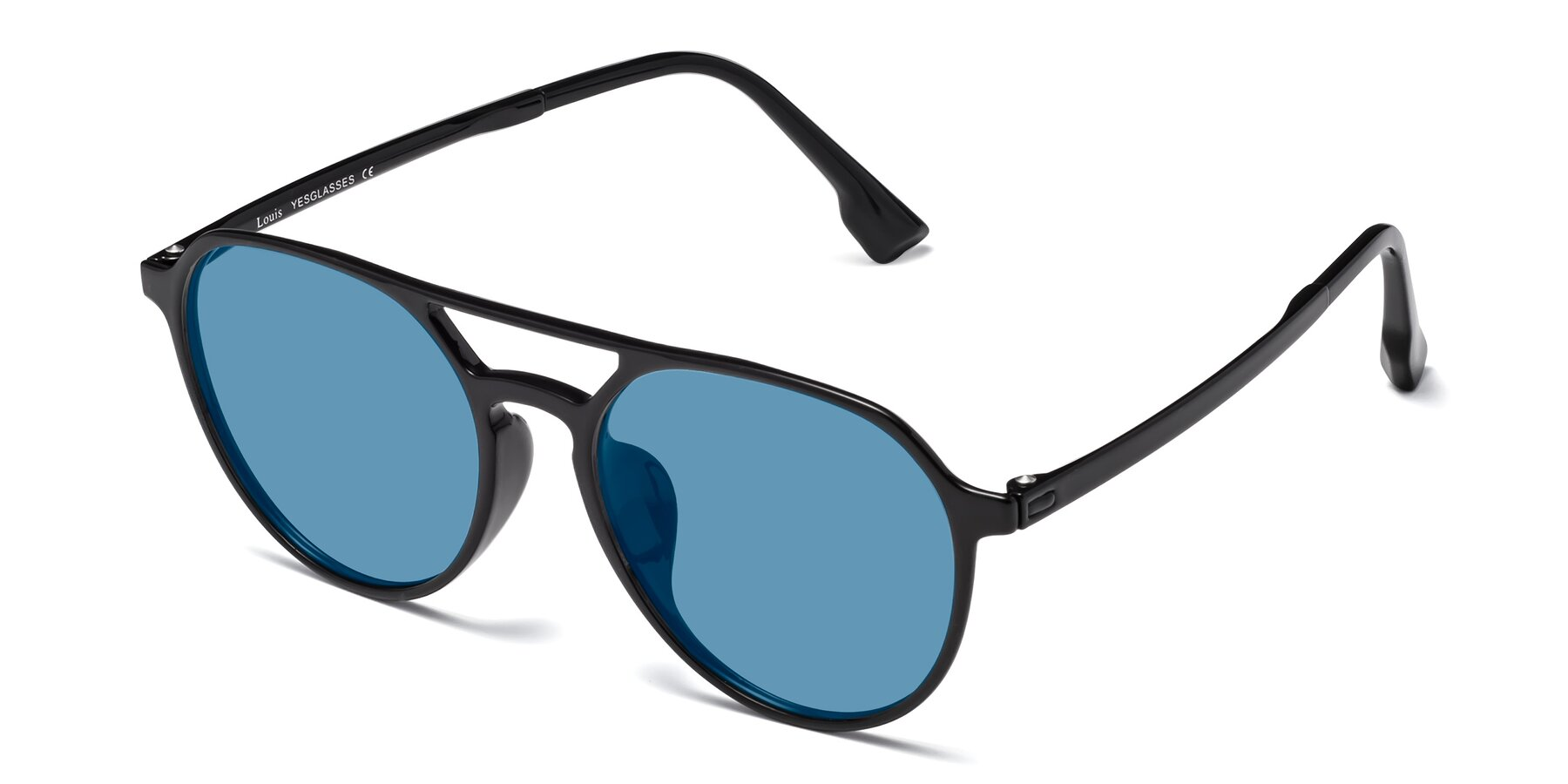 Angle of Louis in Black with Medium Blue Tinted Lenses