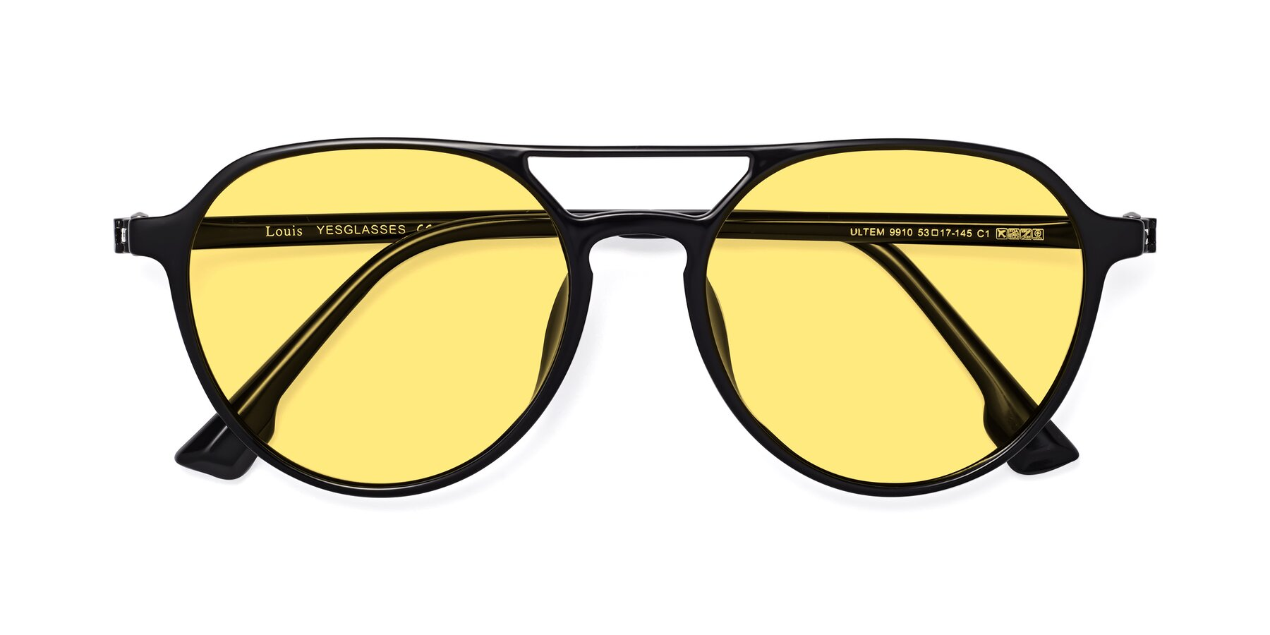 Folded Front of Louis in Black with Medium Yellow Tinted Lenses