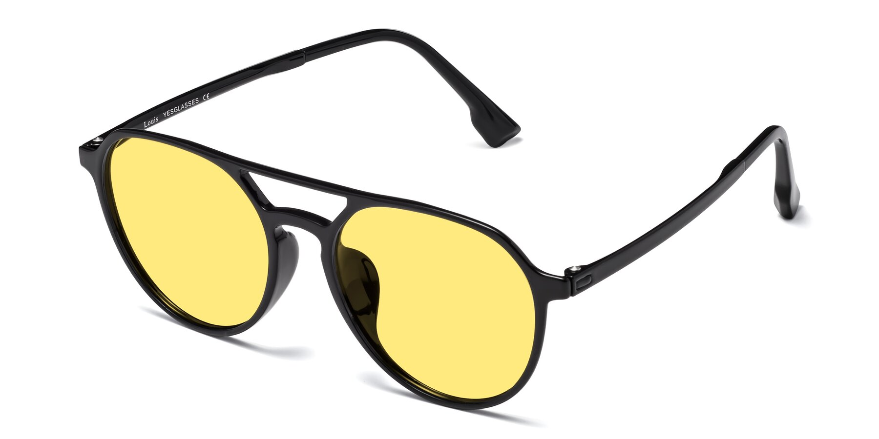 Angle of Louis in Black with Medium Yellow Tinted Lenses