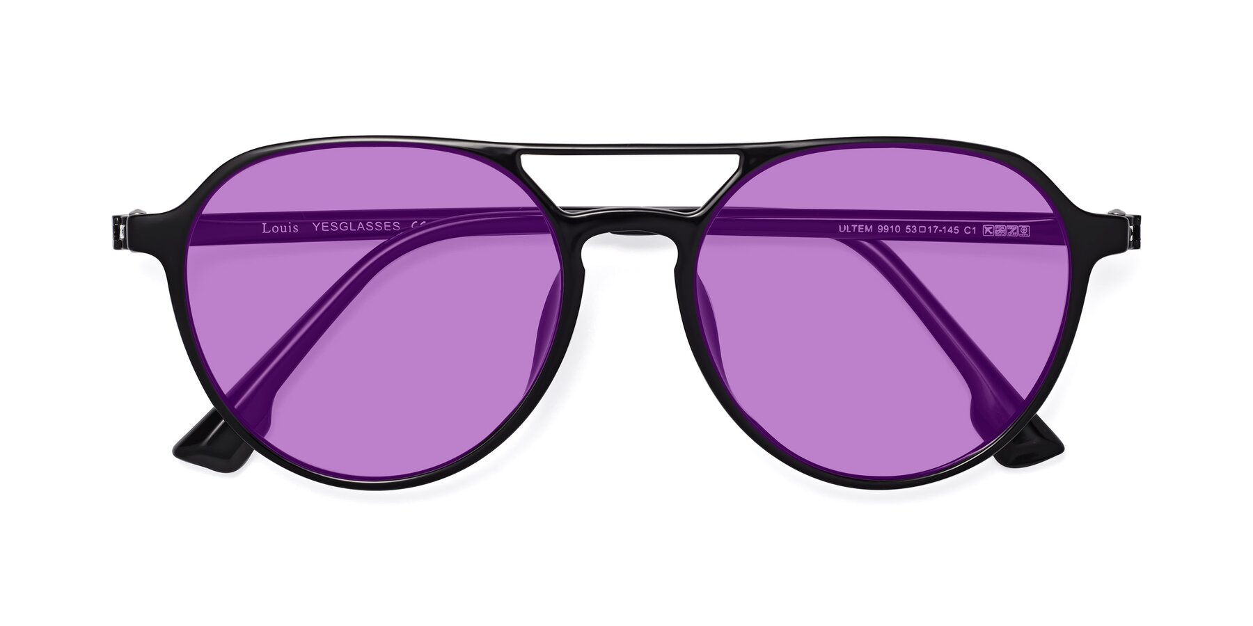 Folded Front of Louis in Black with Medium Purple Tinted Lenses