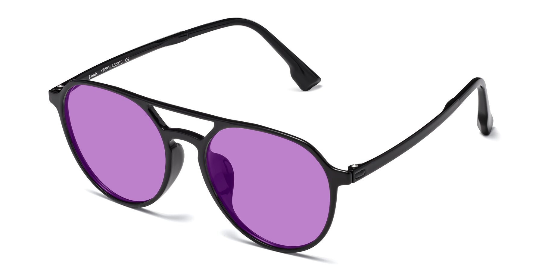 Angle of Louis in Black with Medium Purple Tinted Lenses
