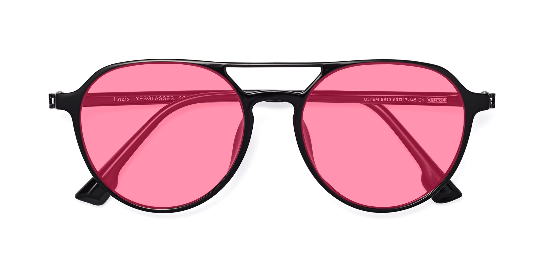 Folded Front of Louis in Black with Pink Tinted Lenses