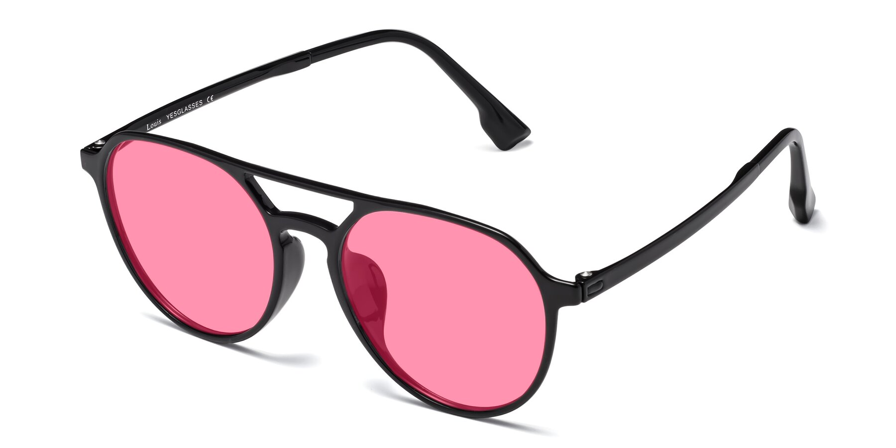 Angle of Louis in Black with Pink Tinted Lenses