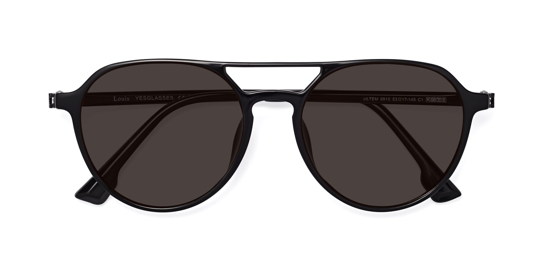 Folded Front of Louis in Black with Gray Tinted Lenses