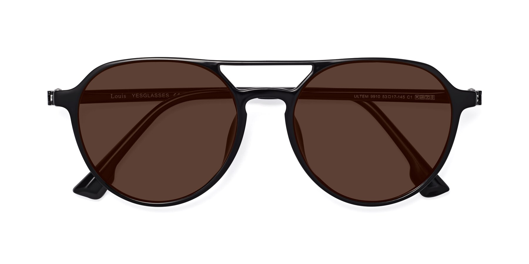 Folded Front of Louis in Black with Brown Tinted Lenses