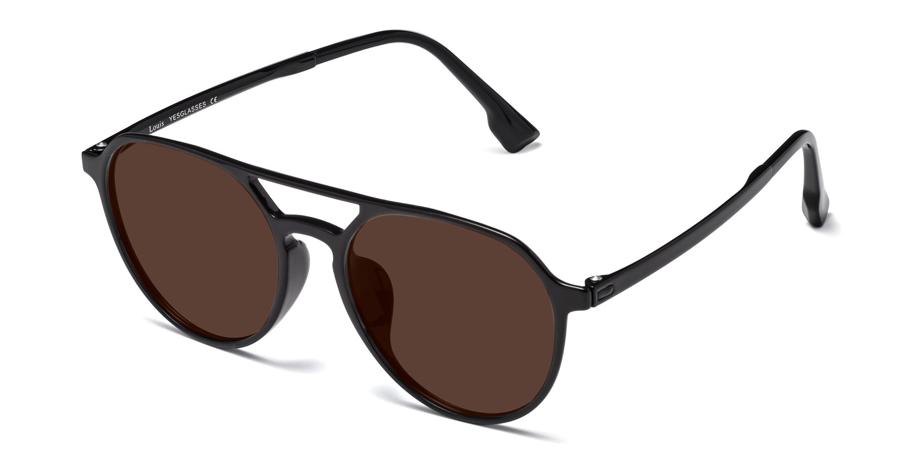 Angle of Louis in Black with Brown Tinted Lenses