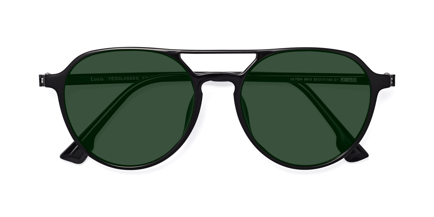Folded Front of Louis in Black with Green Tinted Lenses