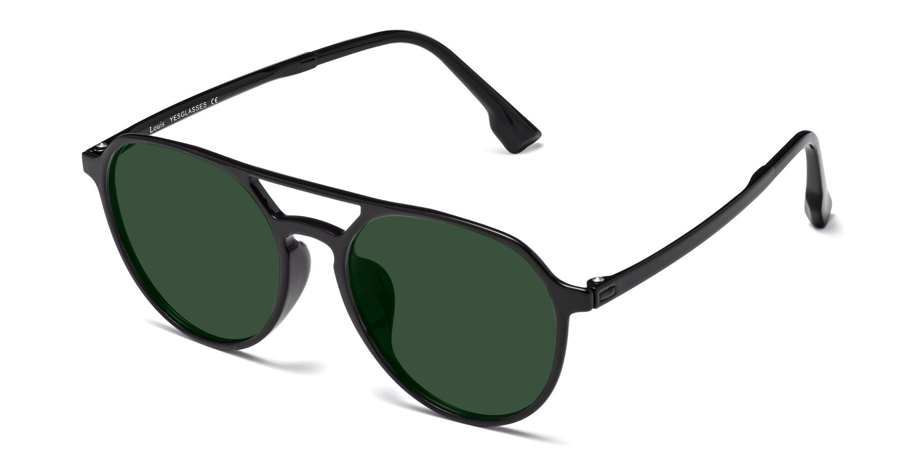 Angle of Louis in Black with Green Tinted Lenses