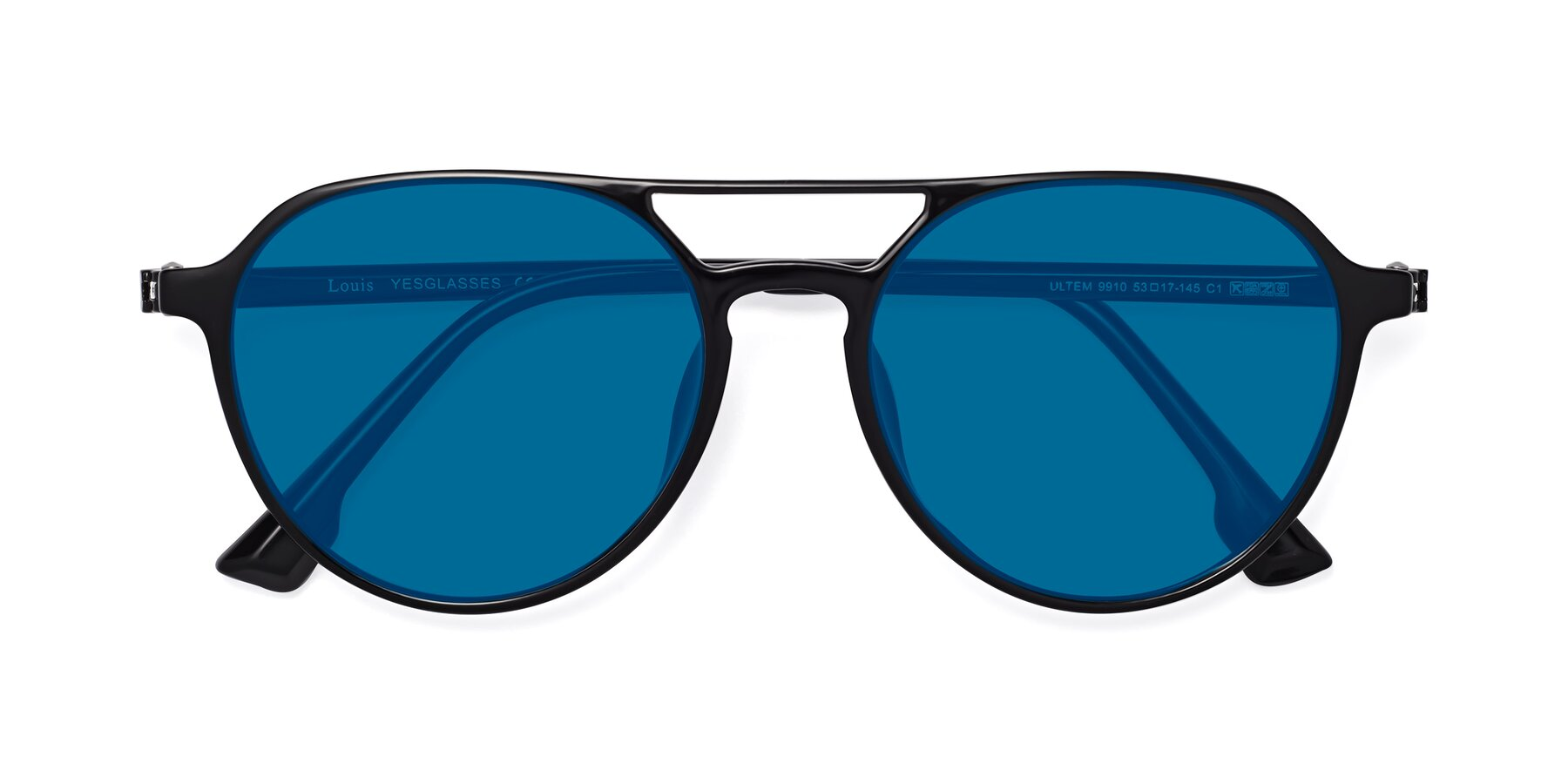 Folded Front of Louis in Black with Blue Tinted Lenses