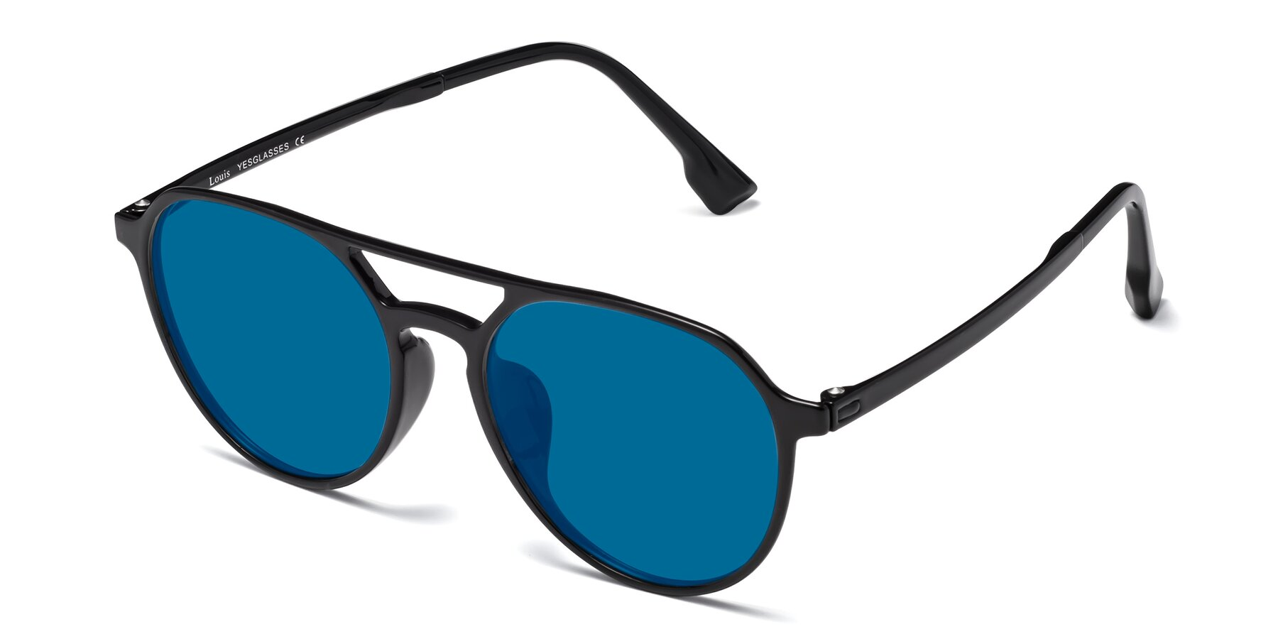 Angle of Louis in Black with Blue Tinted Lenses