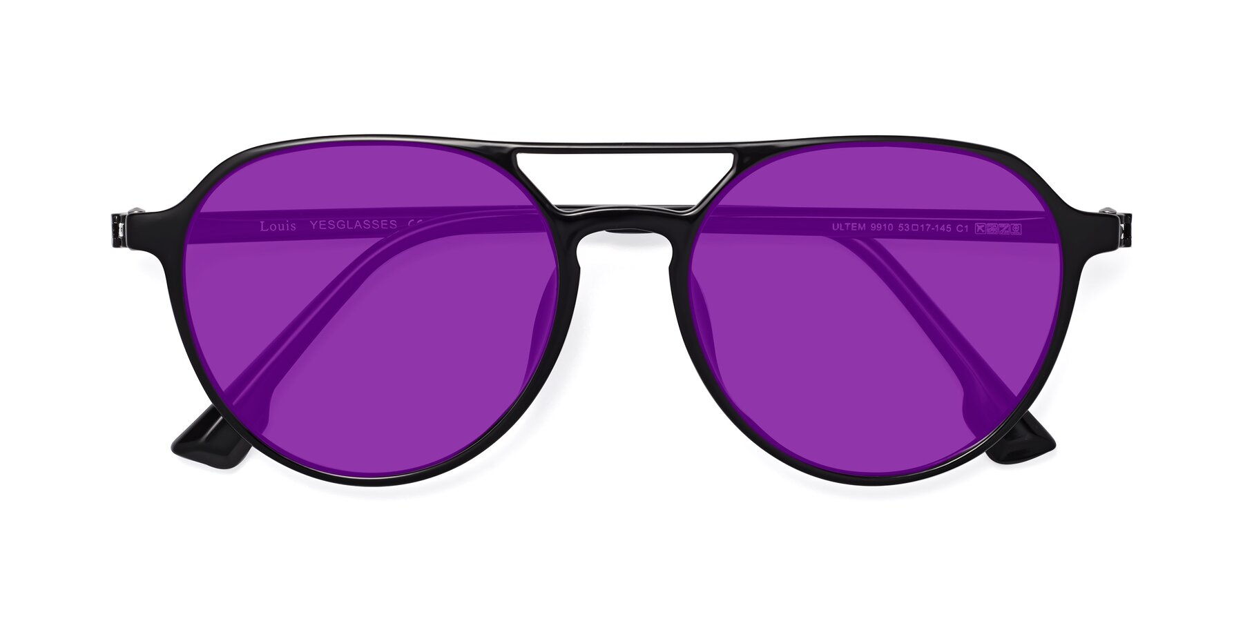 Folded Front of Louis in Black with Purple Tinted Lenses