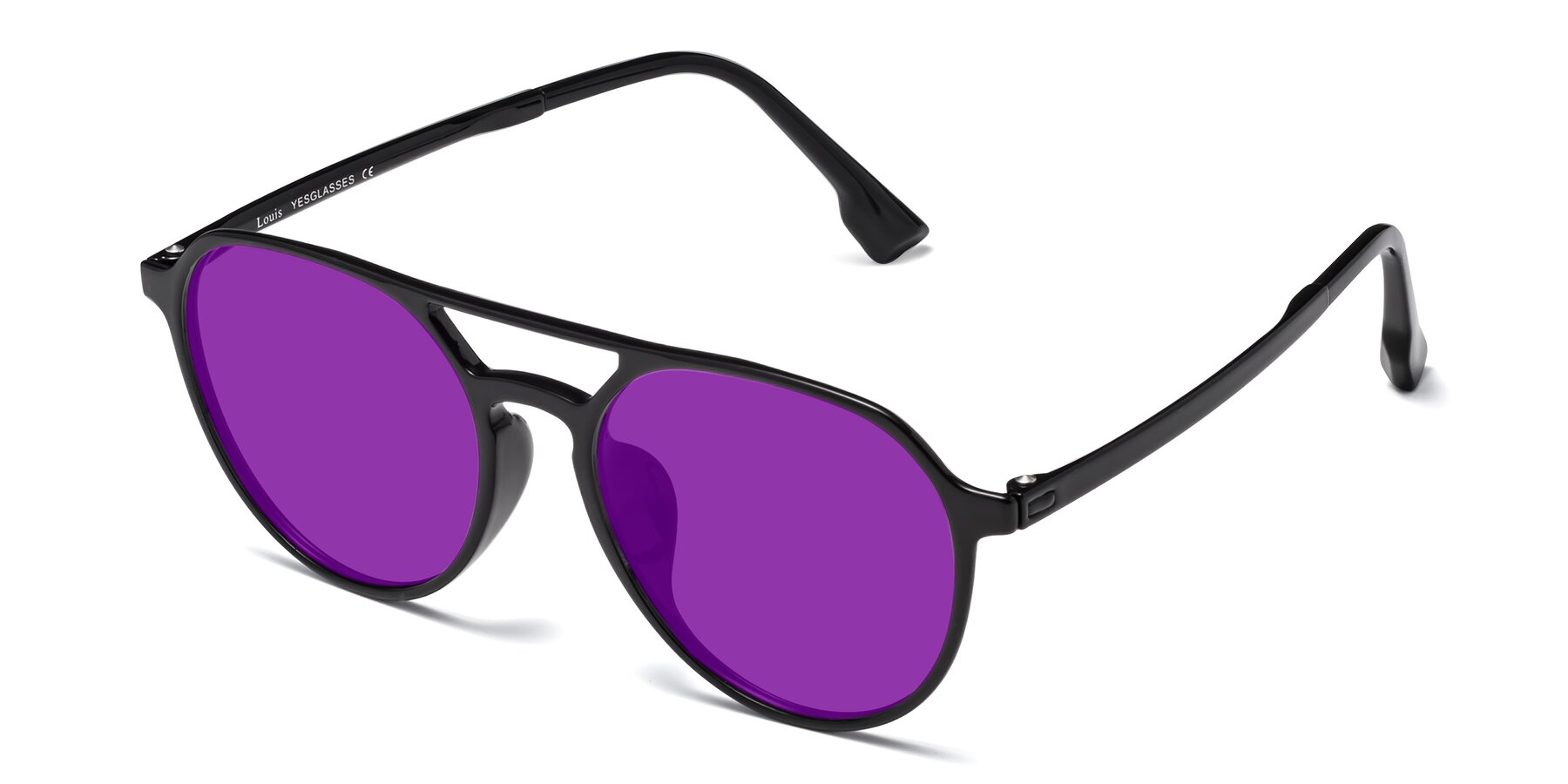 Angle of Louis in Black with Purple Tinted Lenses
