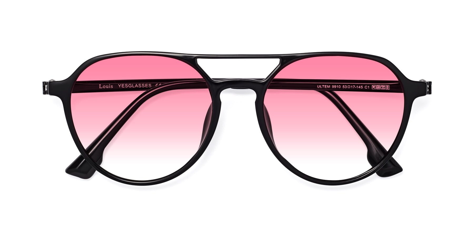 Folded Front of Louis in Black with Pink Gradient Lenses