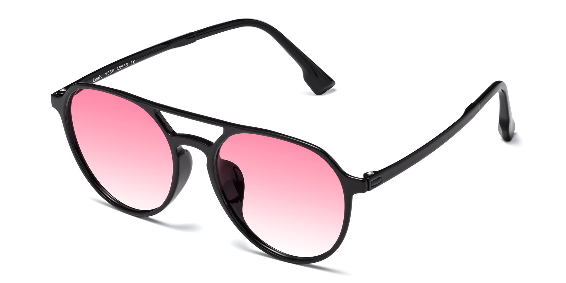 Angle of Louis in Black with Pink Gradient Lenses