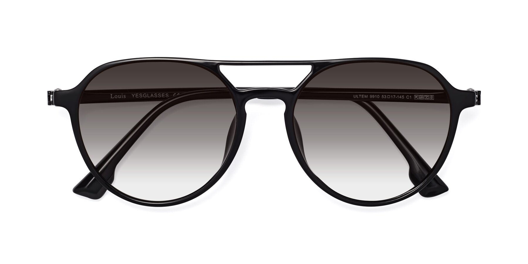 Folded Front of Louis in Black with Gray Gradient Lenses