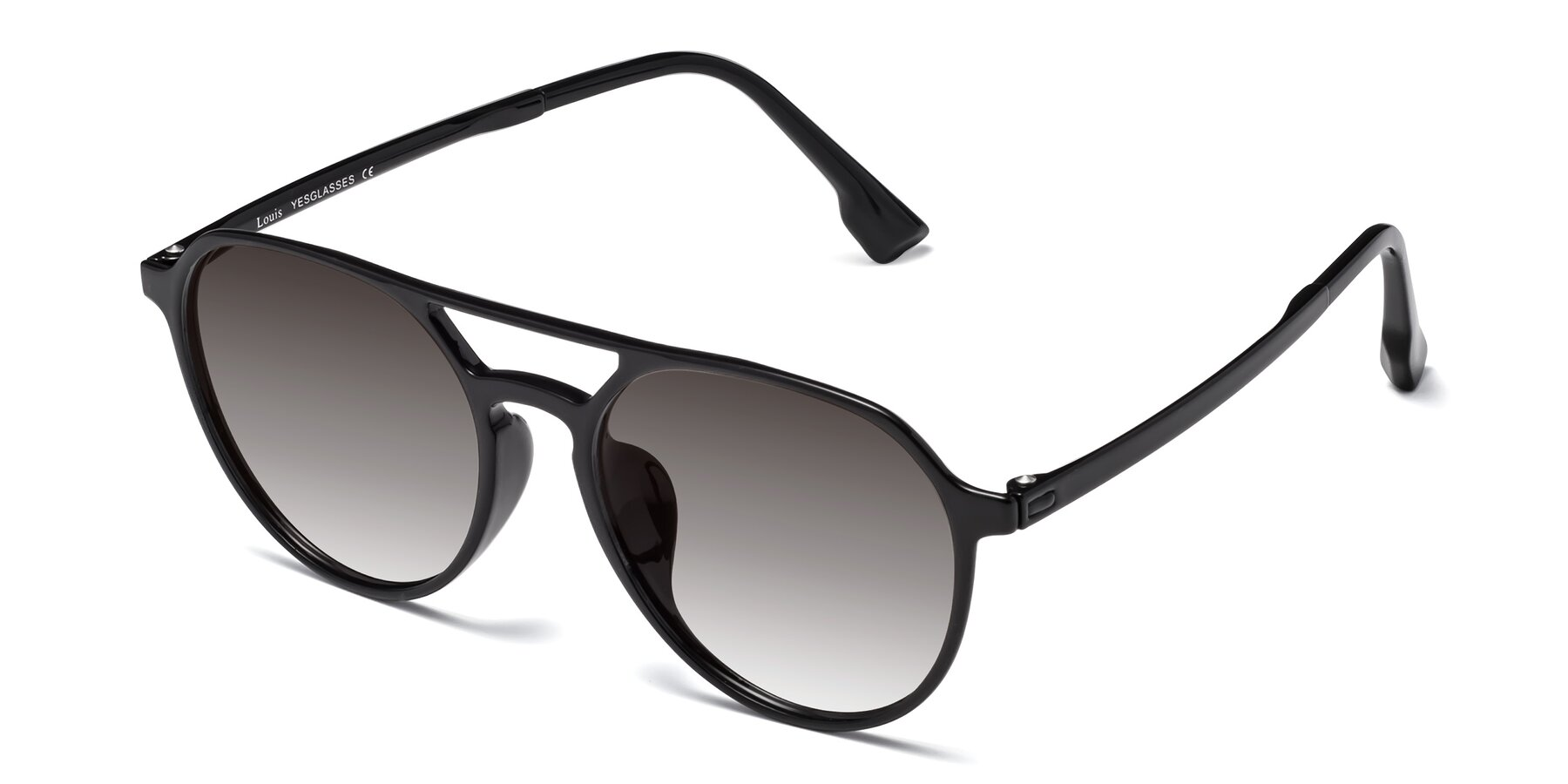 Angle of Louis in Black with Gray Gradient Lenses
